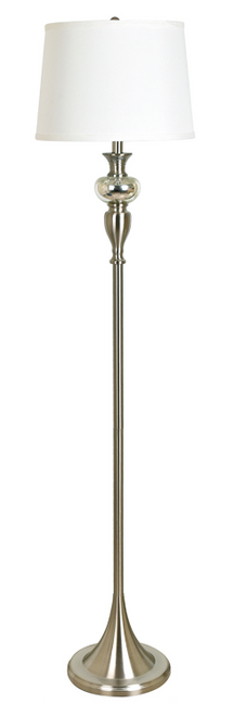 "Metal and Glass Floor Lamp Brushed Nickel 61.5"""