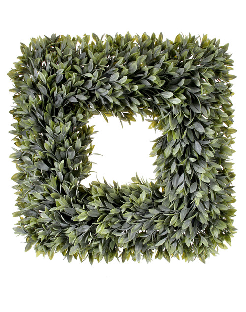 Square Artificial Flocked Sage Wreath 19""