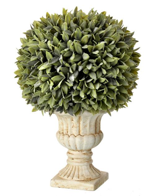 "Flocked Artificial Sage Ball in Urn 15"""