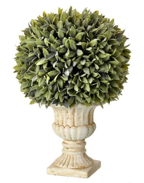 Potted Flocked Artificial Sage Ball in Urn 15""
