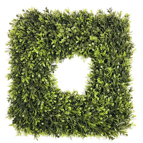 Square Artificial Spring Boxwood Wreath 16""