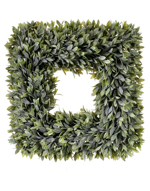 """Square Flocked Artificial Sage Wreath 19"""""""