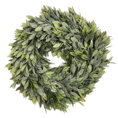 """Flocked Sage Artificial Candle Ring 12"""""""
