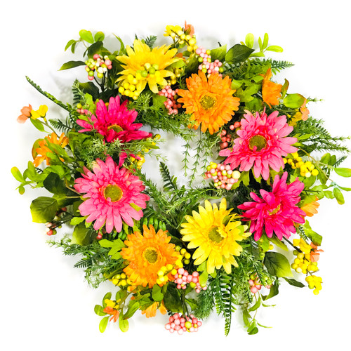 """Pink/Yellow/Orange Artificial Gerber Daisy Wreath on Natural Twig Base 24"""""""