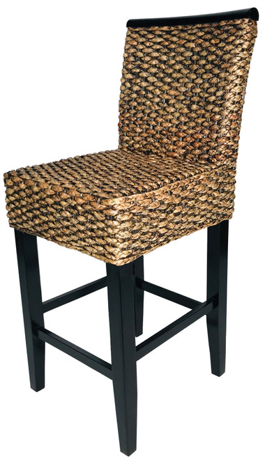 Barstool Acacia Wood with Water Hyacinth Plait Fully Assembled