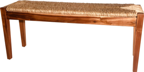 Acacia Wood Bench with Woven Sea Grass Seat