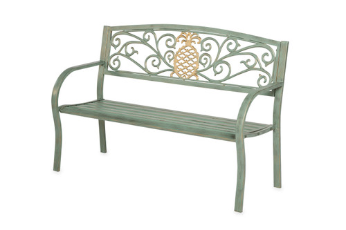 Pineapple Metal Garden Bench Verdigris