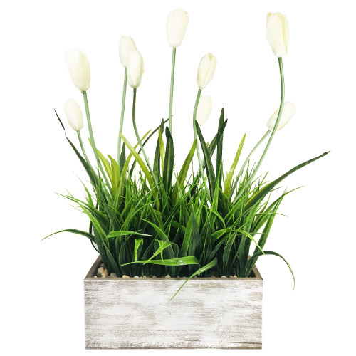 Tulip and Grass in Rectangular Wood Box 18.5""