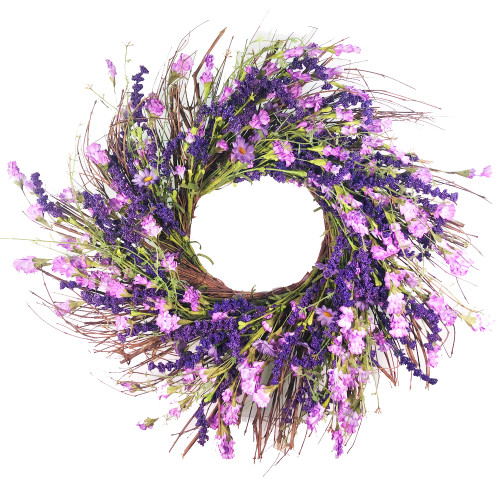 """Purple Artificial Lavender Wreath on Natural Twig Base 24"""""""