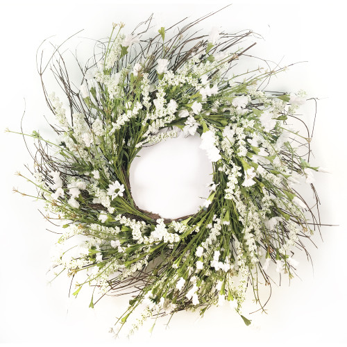 """White Artificial Lavender Wreath on Natural Twig Base 24"""""""