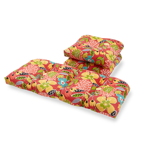 Outdoor Old Mariposa Poppy 3 Piece Cushion Set