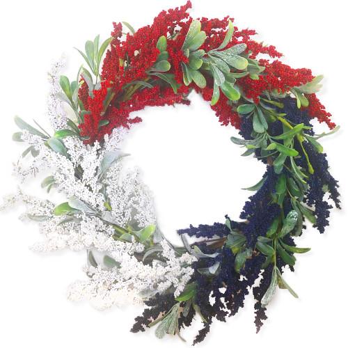 "Patriotic Astilbe Wreath Red White Blue 24"""