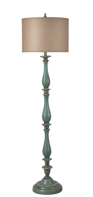 Antique Teal Spindle Poly-Resin Floor Lamp 61""