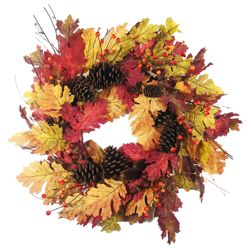 Oak Leaf Pine Cone Wreath 24""