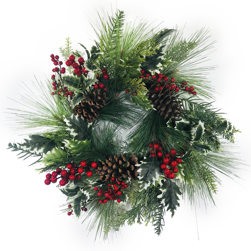 """Pine Cone Holly Berry Wreath 24"""""""