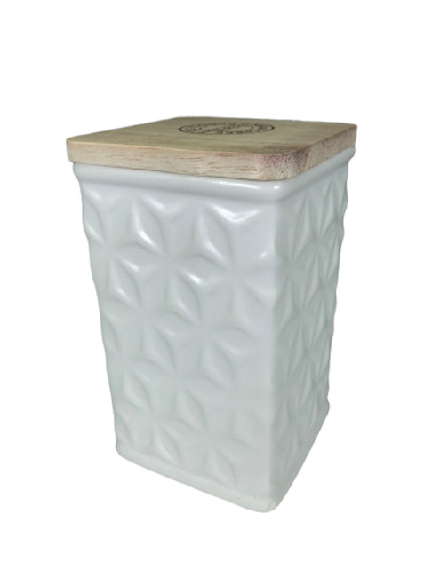 Swan Creek White Collection Square Canister Lavender & Lemongrass