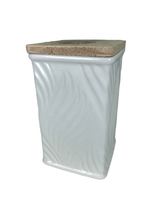 Swan Creek White Collection Square Canister White Peach & Clove