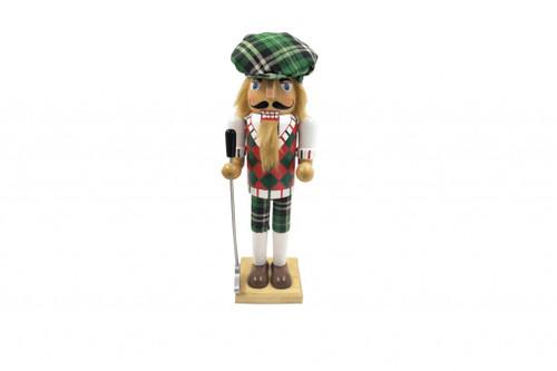 "Santa's Workshop Green Plaid Golfer Nut Cracker 14"""