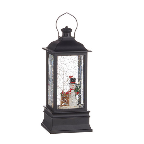 Raz Imports Frosty's Tree Farm Musical Lighted Water Lantern 8.75""