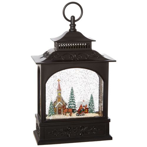 Raz Imports Town Scene Musical Lighted Water Lantern 11""