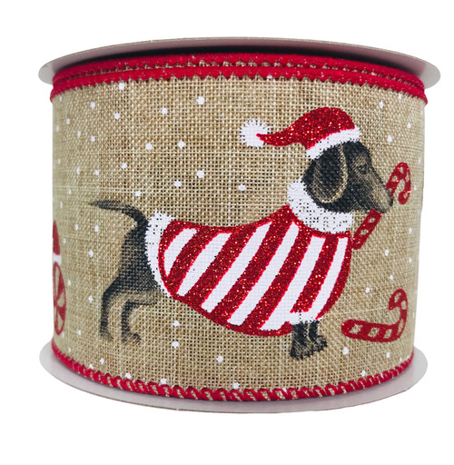 "Christmas Ribbon Linen with Dogs 2.5"" x 10Yd"