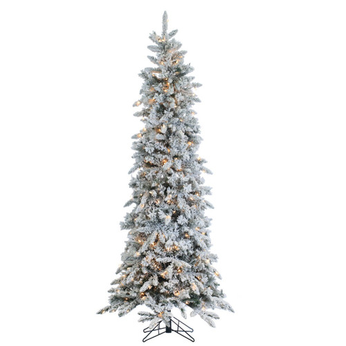 9' Prelit Narrow Flocked Pencil Pine Artificial Christmas Tree