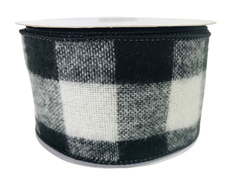 "Ribbon Buffalo Check Black White Brushed Acrylic 2.5"" x 10Yd"