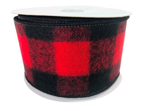 "Ribbon Buffalo Check Red Black Brushed Acrylic 2.5"" x 10Yd"