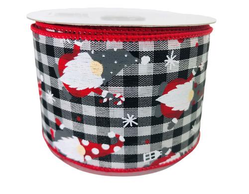 """Ribbon Christmas Gnomes Black Gingham 2.5"""" x 10Yd"""