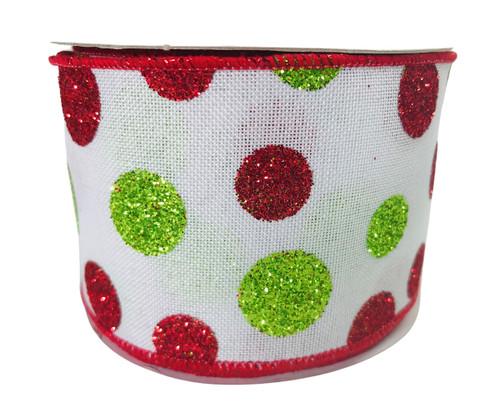 "Ribbon Glitter Dots Red White Green 2.5"" x 10Yd"