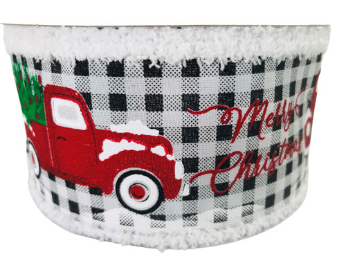 "Ribbon Merry Christmas Truck on Black Gingham with Chenille Edge 2.5"" x 10Yd"