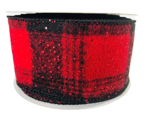 "Ribbon Glitter Flannel Plaid Red Black 2.5"" x 10Yd"