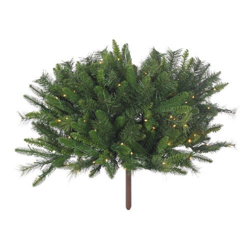 "Porch Pot Evergreen Cover 7"" x 34"" Pre-Lit 100 Warm LED"