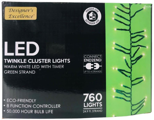 LED Twinkle Cluster Lights 24.9Ft Warm White w/ Green Strand Connect End to End