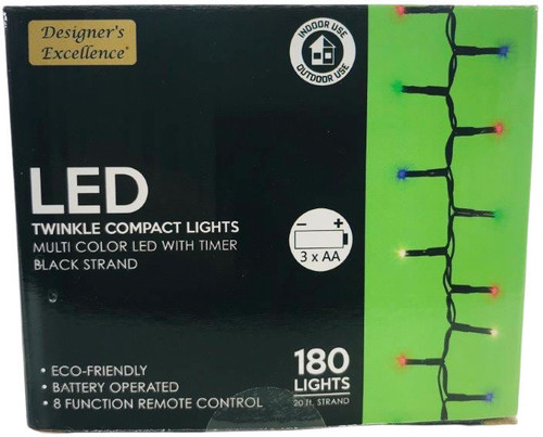 LED Twinkle Compact Lights 20Ft Multi Color w Black Strand Battery Operated 8 Function Remote Control