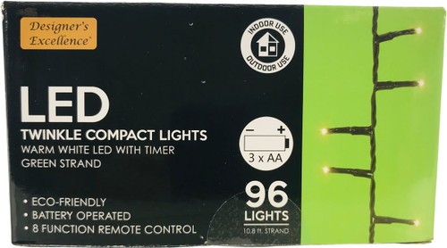 LED Twinkle Compact Lights 10.8Ft Warm White w Green Strand Battery Operated 8 Function Remote Control