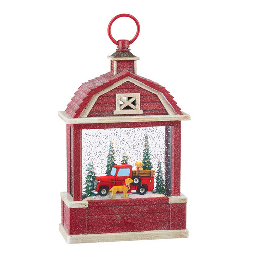"""Raz Imports 10.75"""" Truck and Dogs Lighted Water Barn"""
