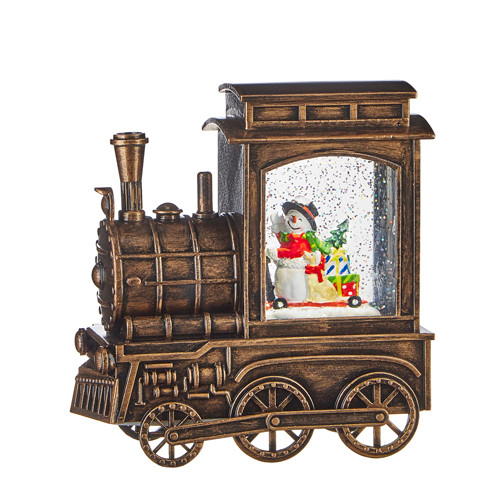 """Raz Imports 6.75"""" Snowman in Musical Lighted Water Train"""
