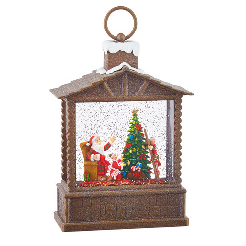 "Raz Imports 10"" Santa and Elves Lighted Water Log Cabin"