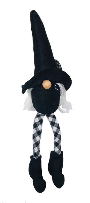 """Gnome Shelf Sitter Witch with Hair and Check Pants 12"""""""