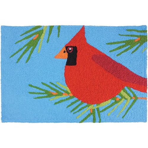 "Jellybean Rug Cardinal Perched in Pines 20"" x 30"""