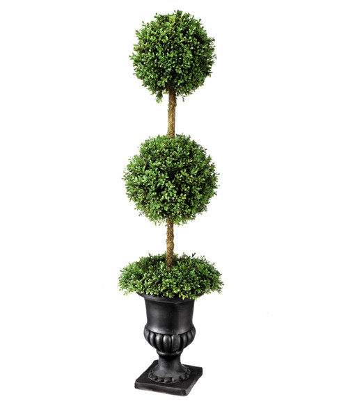 """Boxwood Wreath Double Ball Topiary in Urn 54"""""""