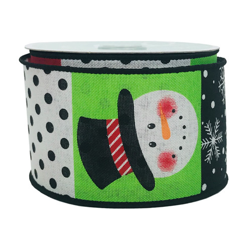 "Christmas Ribbon Snowman White Black Red Lime 2.5"" x 10YD"