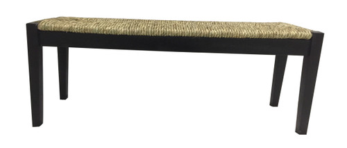 Acacia Wood Bench with Woven Sea Grass Seat Black