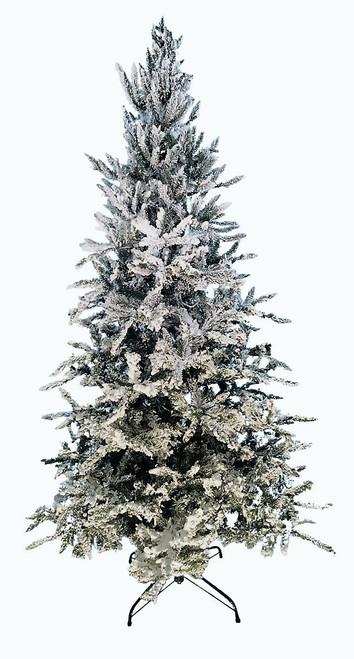 9' Flocked Balsam Fir Prelit Artificial Christmas Tree with AlwaysLit Technology