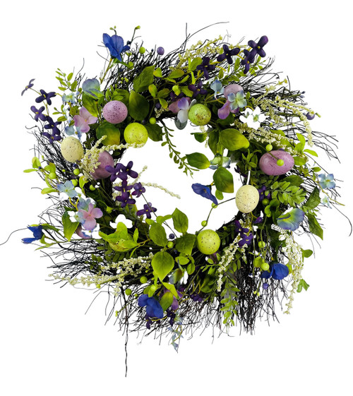 """Egg, Wildflower, and Berry Wreath Green Lavender 24"""""""