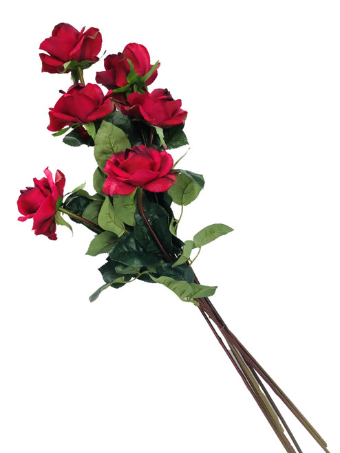 """Caroline Rose Real Touch Red 27"""" Set of 6 Artificial Stems"""