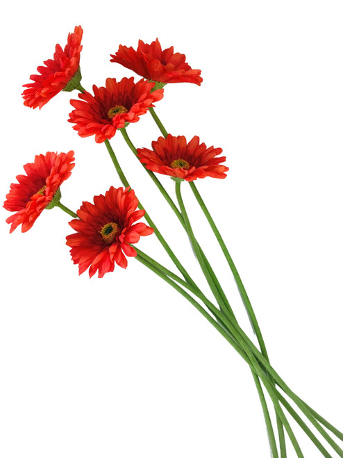 """Gerbera Daisy Real Touch Orange 24"""" Set of 6 Artificial Stems"""