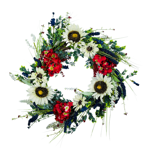 Patriotic Sunflower Hydrangea Wreath on Natural Willow Base Red White Blue 24""