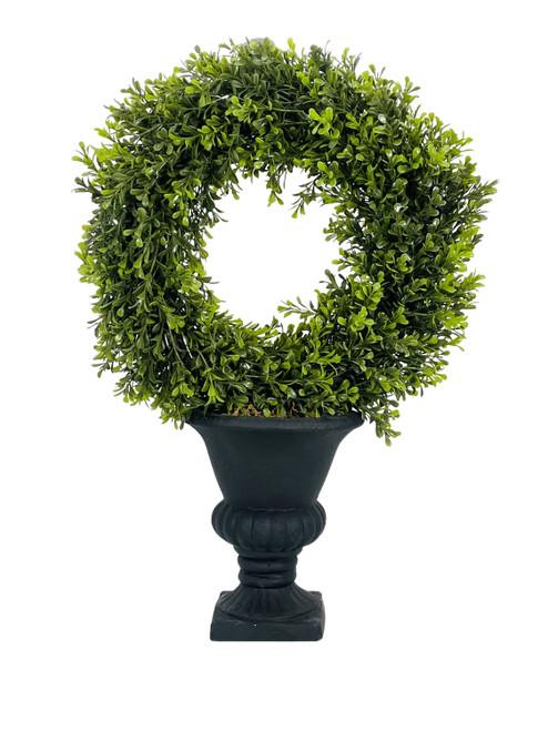 "Boxwood Wreath Topiary in Urn 21"""